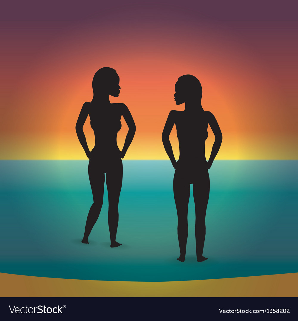 Beach bikini women silhouette vector | Price: 1 Credit (USD $1)