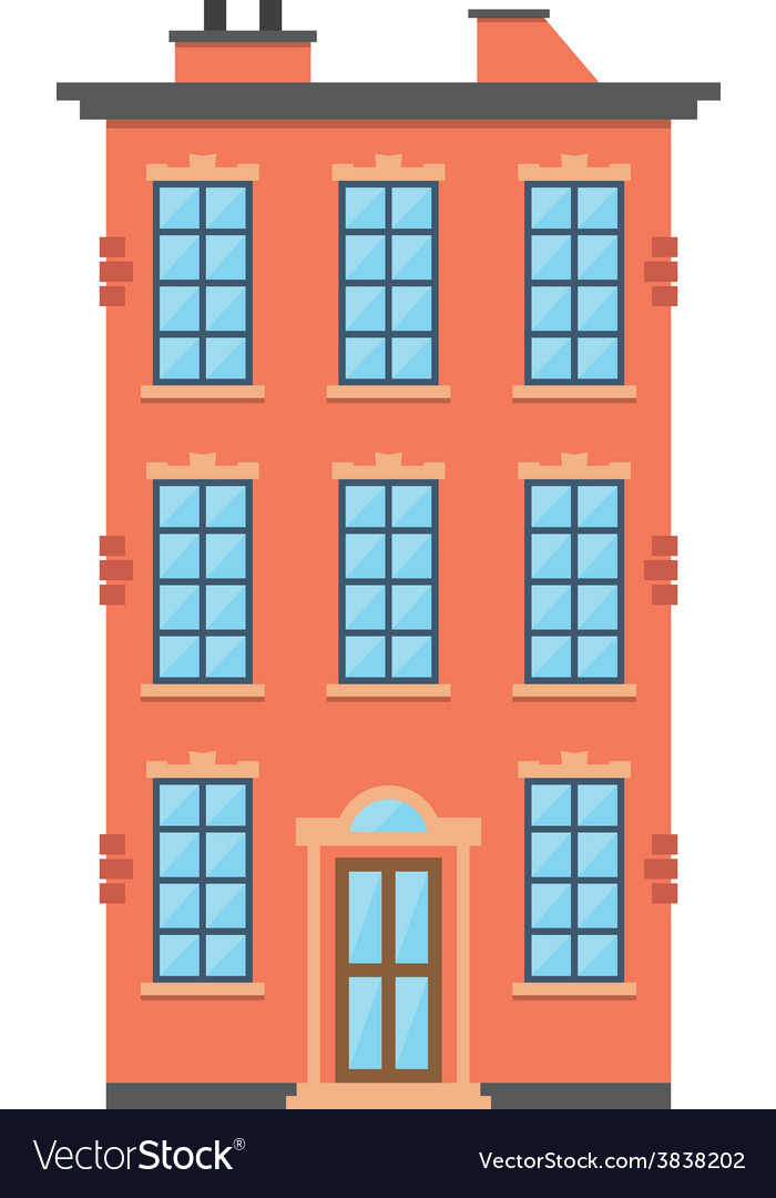 Brick townhouse vector | Price: 1 Credit (USD $1)