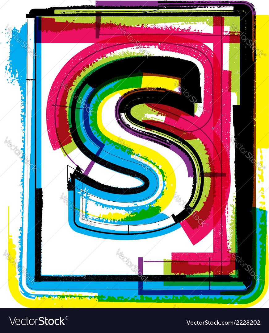 Colorful grunge font letter s vector | Price: 1 Credit (USD $1)