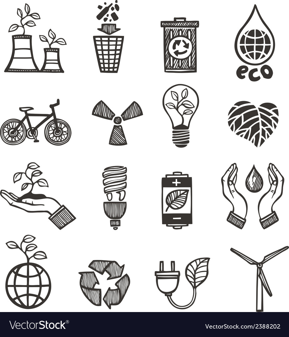 Ecology and waste icons set vector | Price: 1 Credit (USD $1)