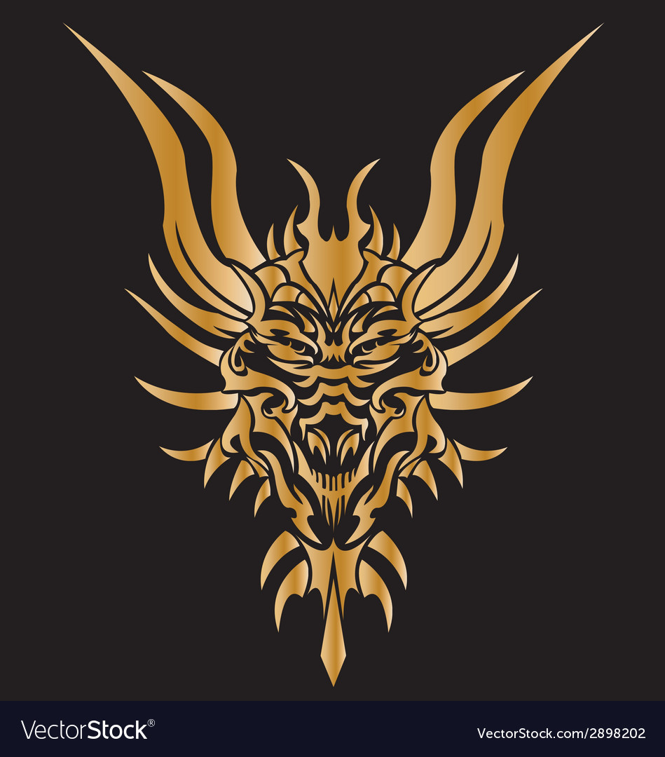 Golden dragon tattoo on background vector | Price: 1 Credit (USD $1)
