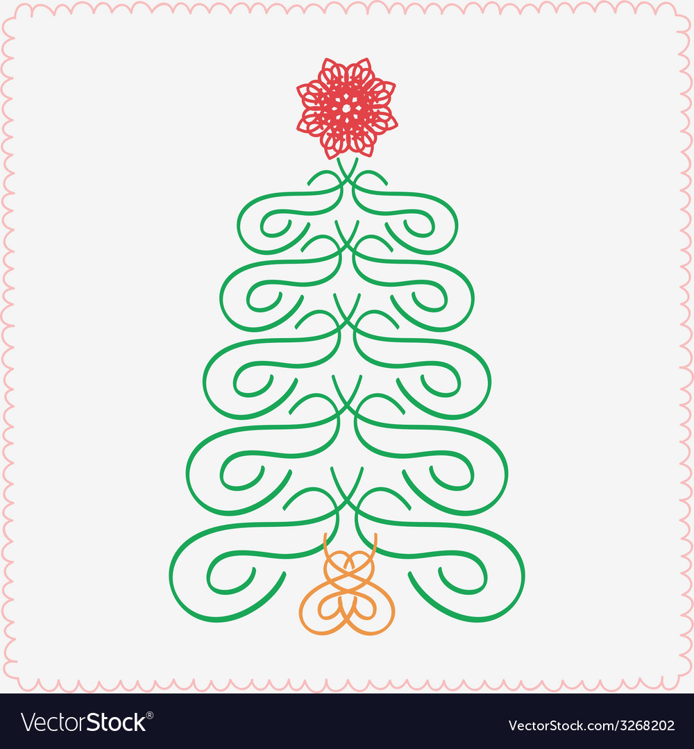 Hand-drawn christmas tree typographic and vector | Price: 1 Credit (USD $1)