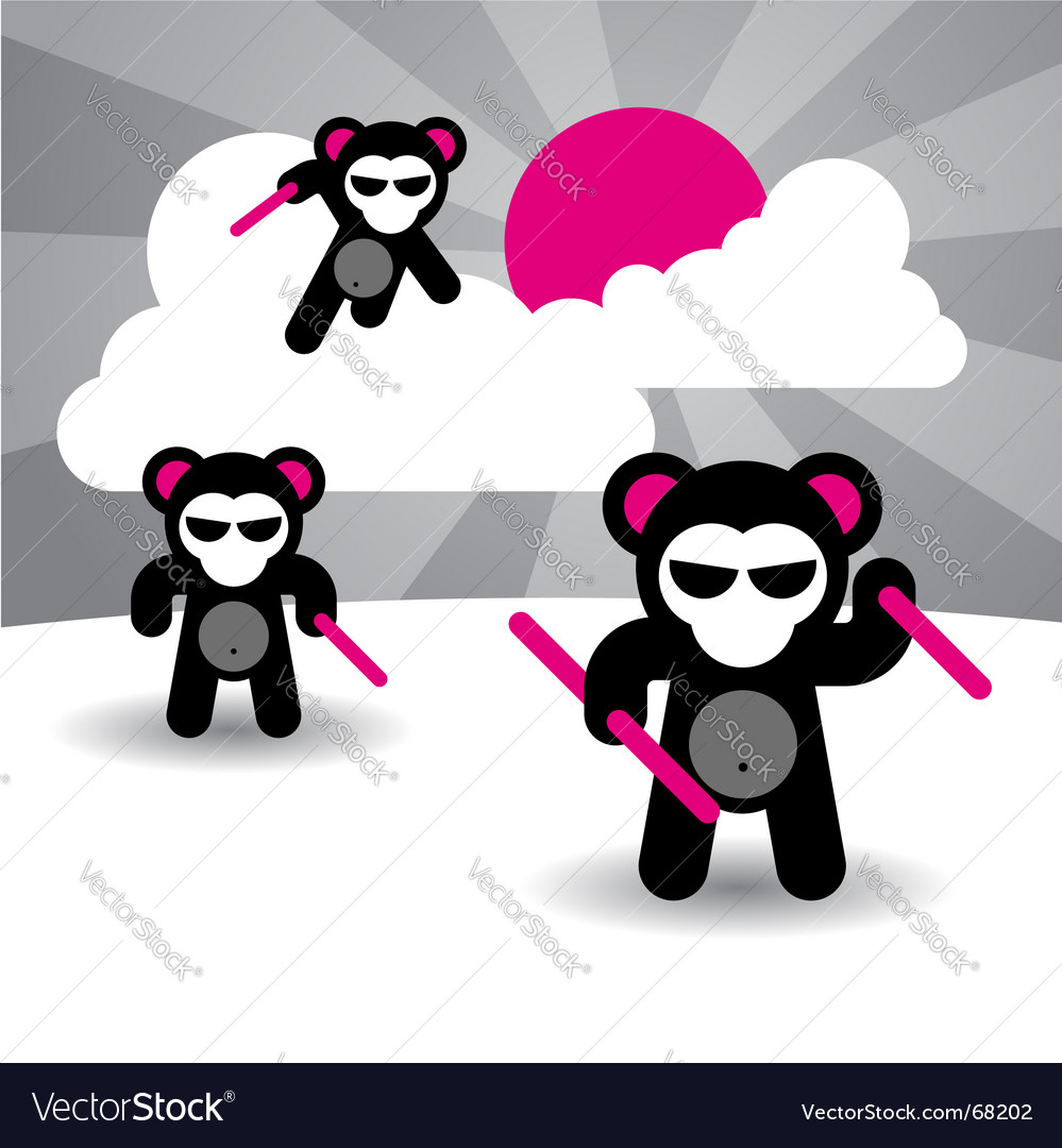Ninja bears vector | Price: 1 Credit (USD $1)