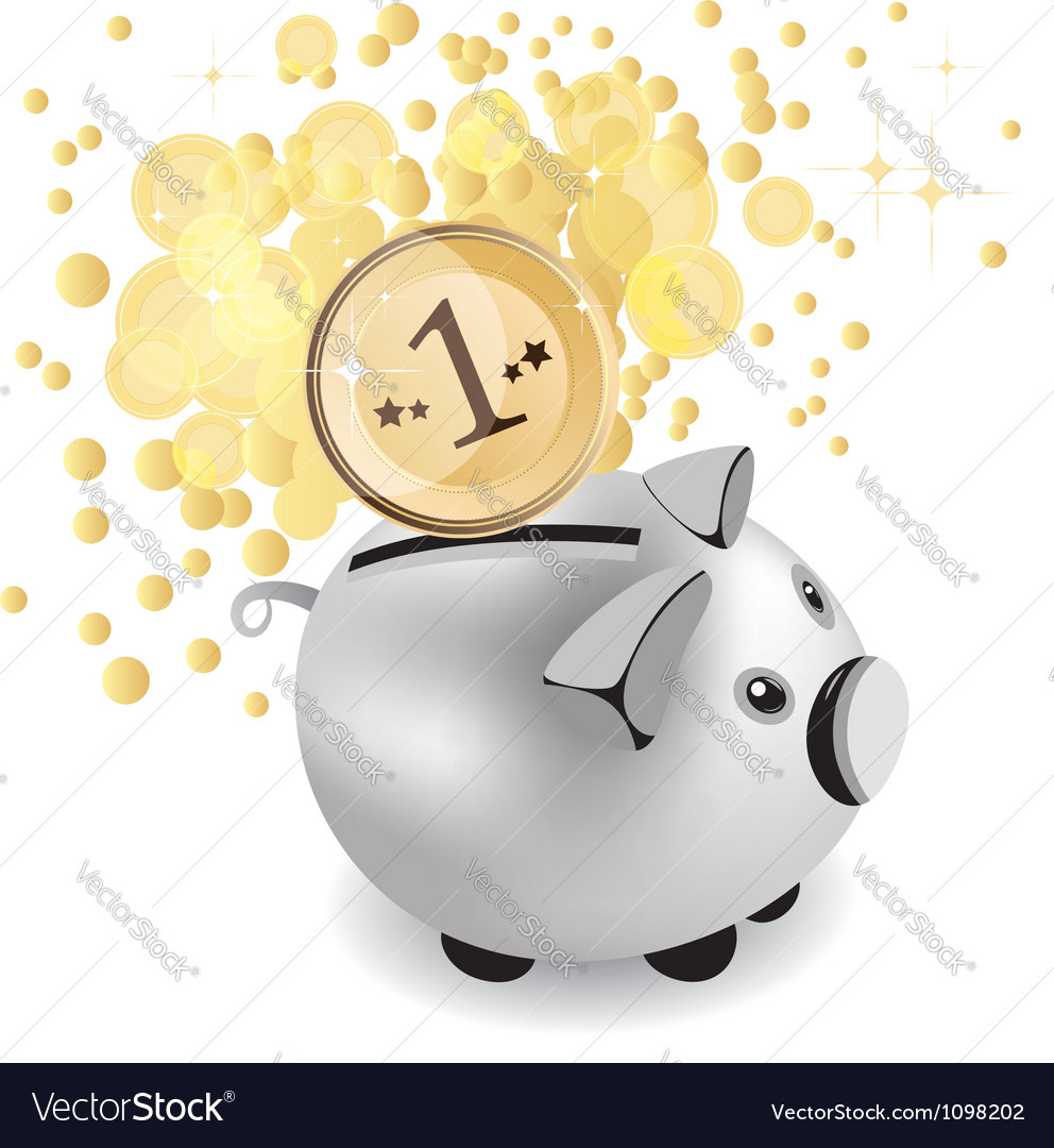 Piggy bank and money vector | Price: 1 Credit (USD $1)