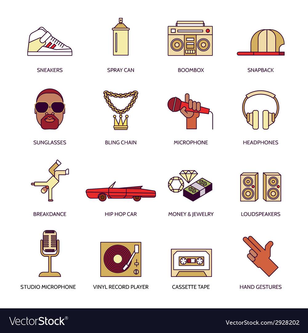 Rap music icons set vector | Price: 1 Credit (USD $1)