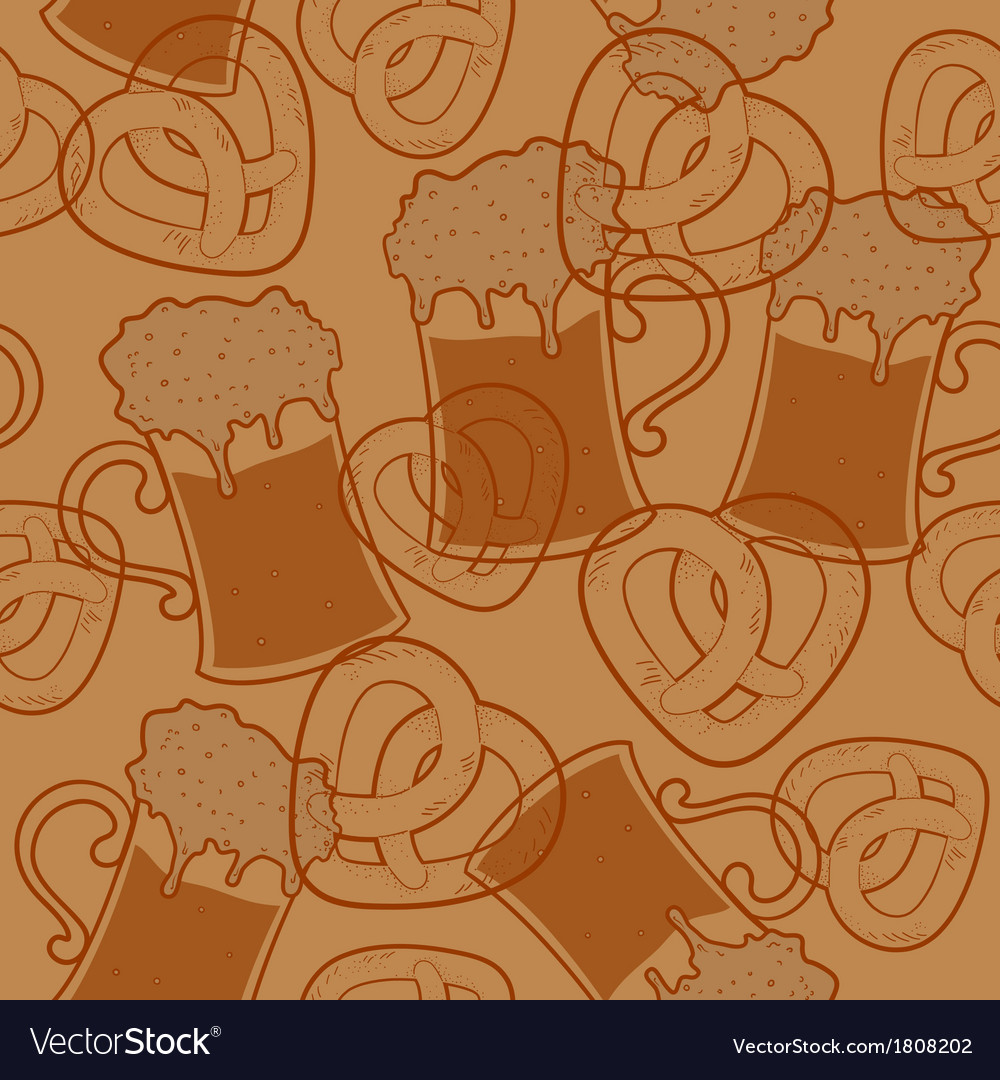Seamless pattern with beer and pretzels vector | Price: 1 Credit (USD $1)