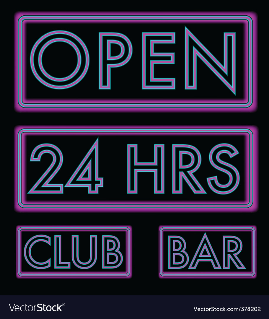 Set of neon signs vector | Price: 1 Credit (USD $1)