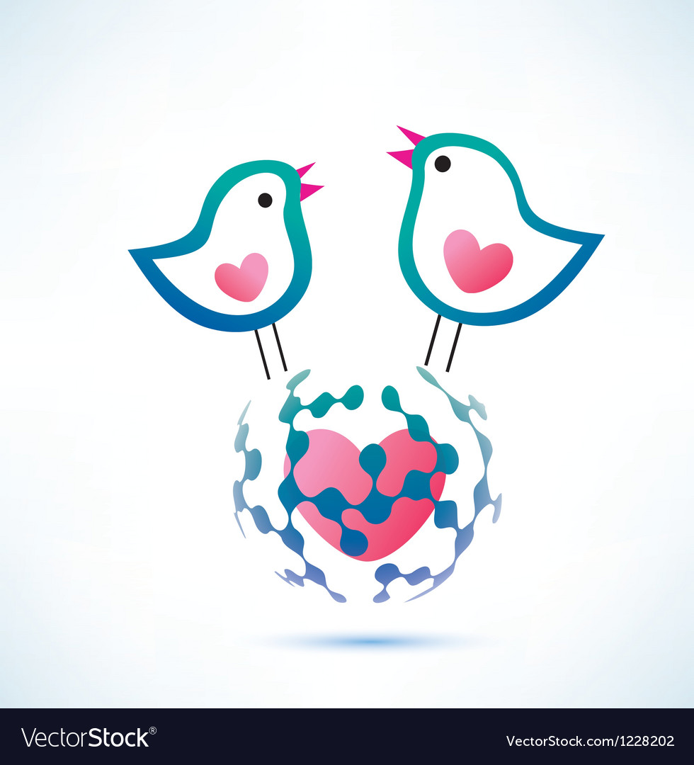 Social network concept two birds on the globe vector | Price: 1 Credit (USD $1)