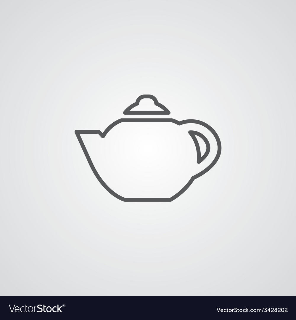 Teapot outline symbol dark on white background vector | Price: 1 Credit (USD $1)