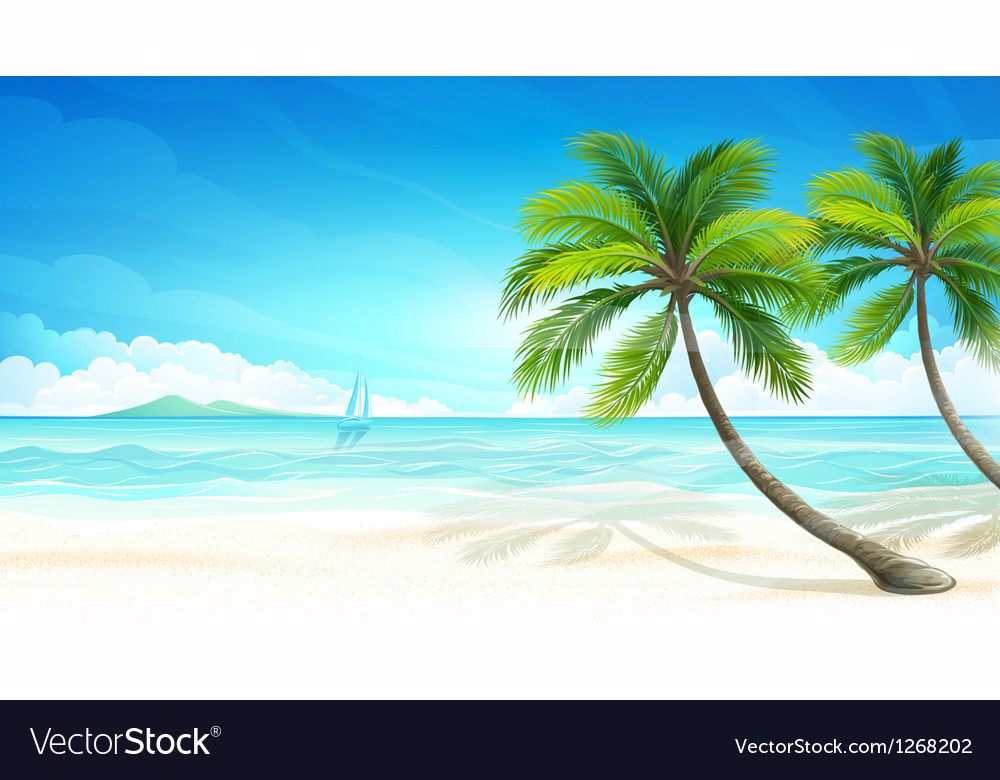 Tropical beach vector | Price: 3 Credit (USD $3)