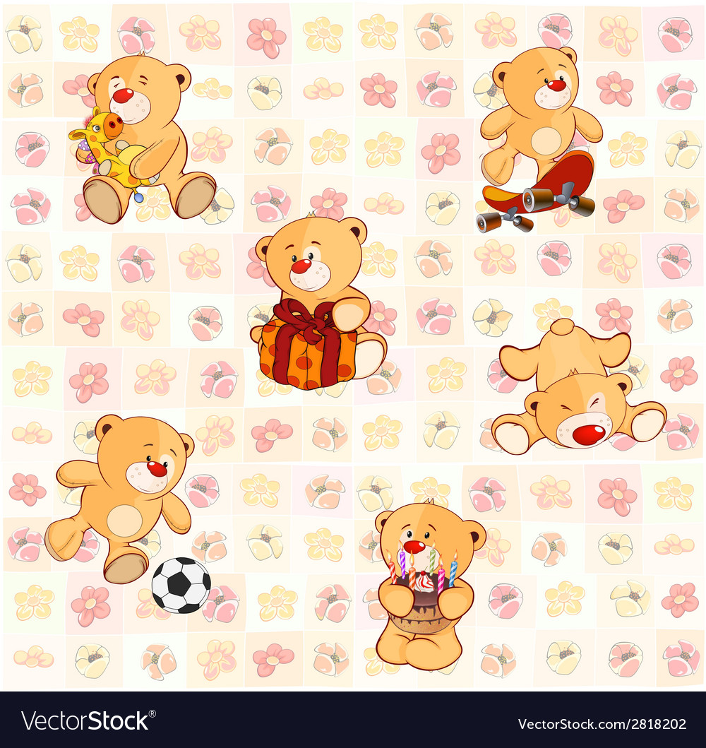Wallpaper with stuffed bear cubs vector | Price: 1 Credit (USD $1)
