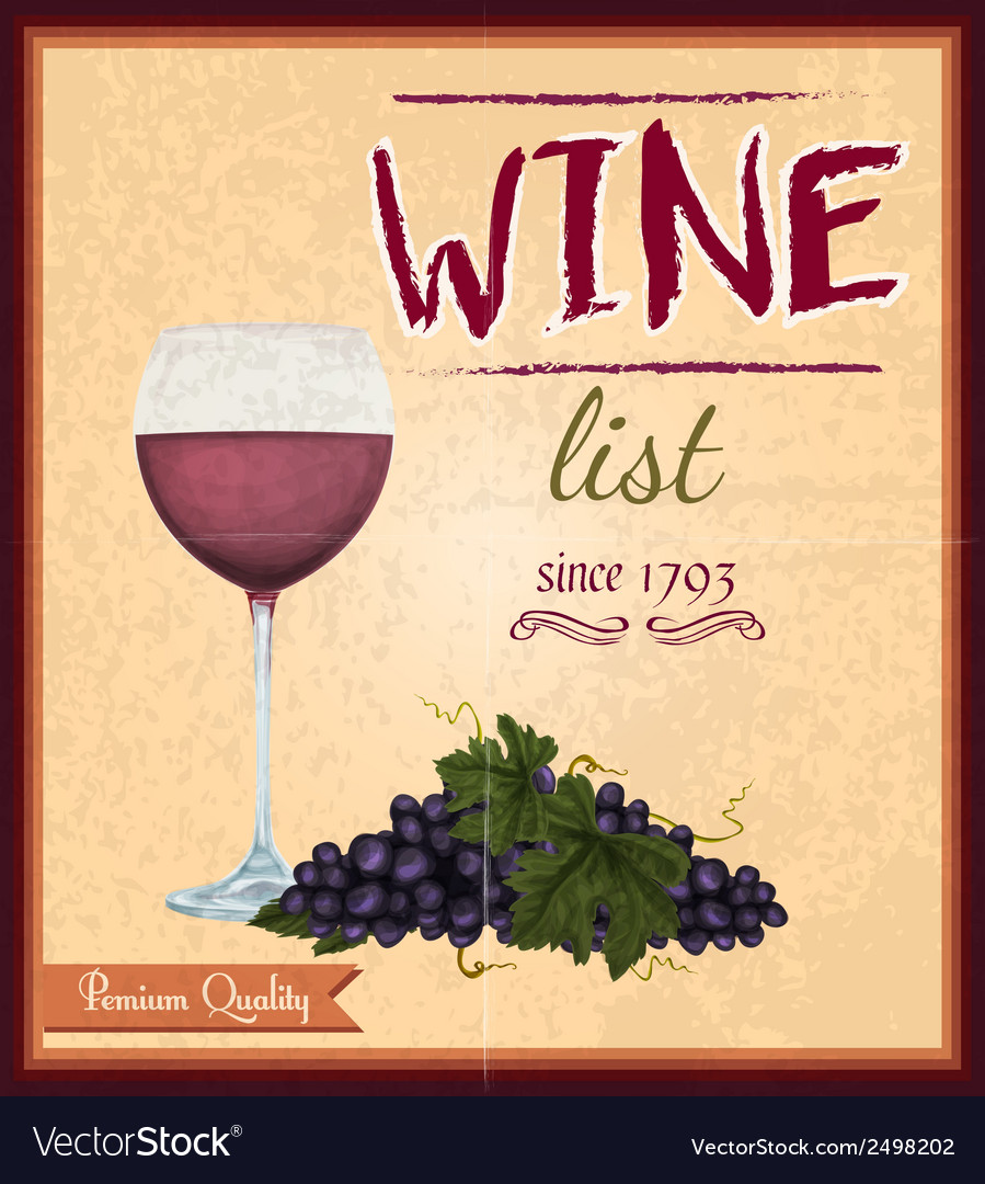 Wine list retro poster vector | Price: 1 Credit (USD $1)