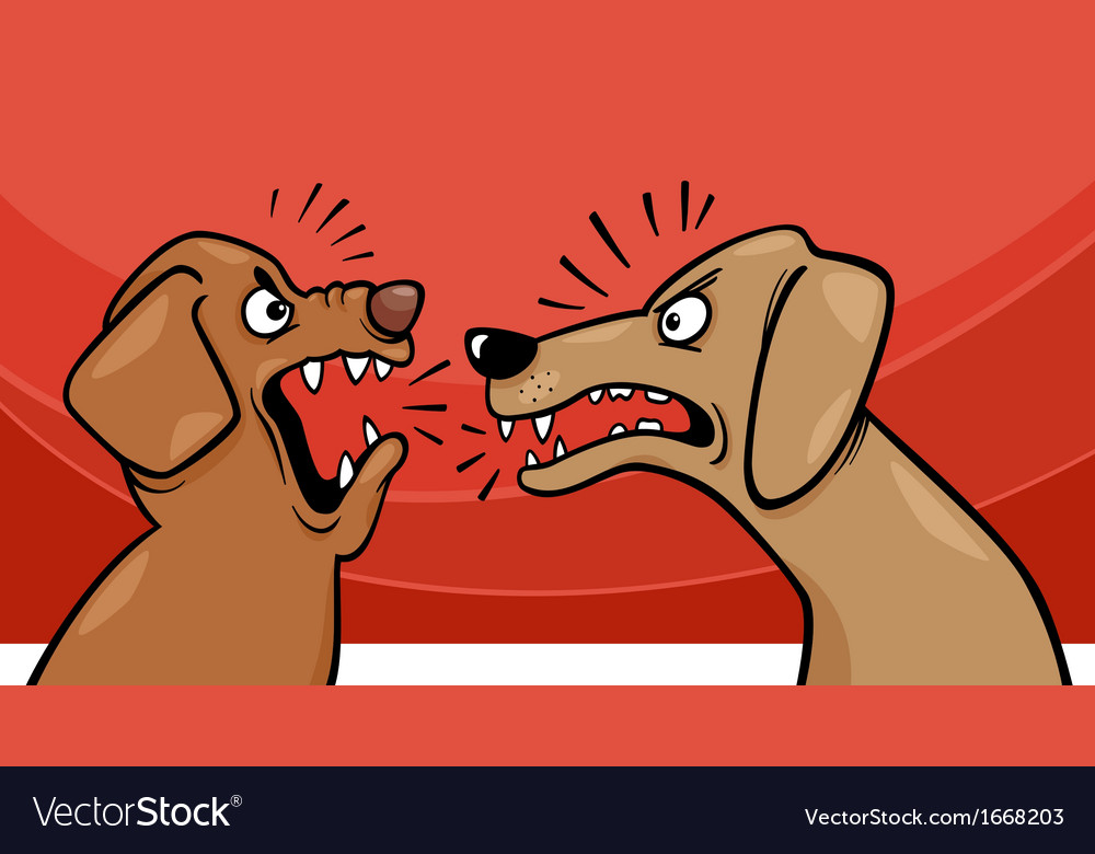 Angry barking dogs cartoon vector | Price: 1 Credit (USD $1)