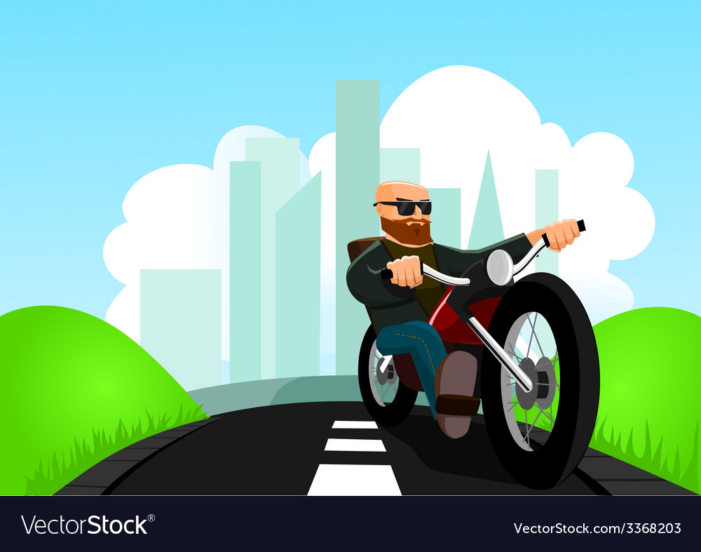 Biker on the road vector | Price: 1 Credit (USD $1)