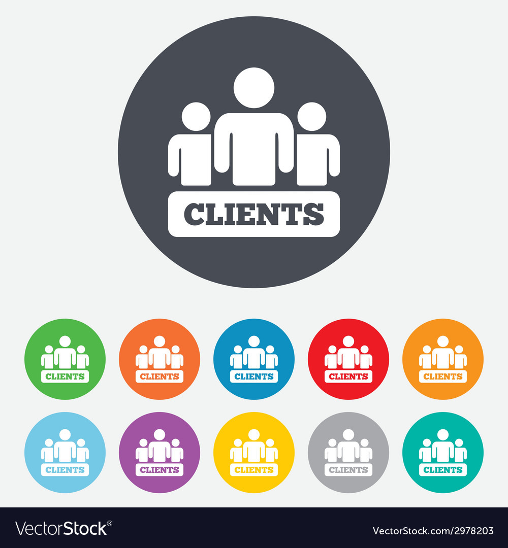Clients sign icon group of people symbol vector | Price: 1 Credit (USD $1)