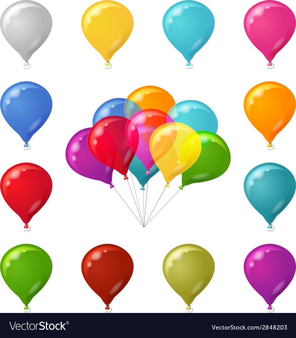 Colorful festive balloons set vector | Price: 1 Credit (USD $1)
