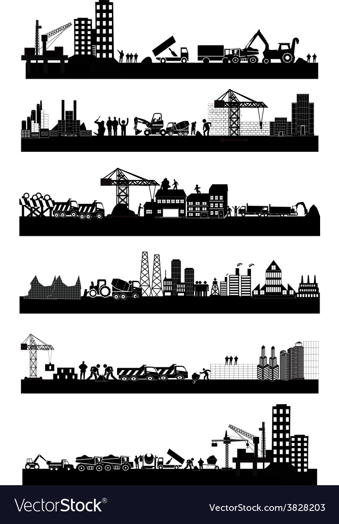 Construction site skyline set vector | Price: 1 Credit (USD $1)