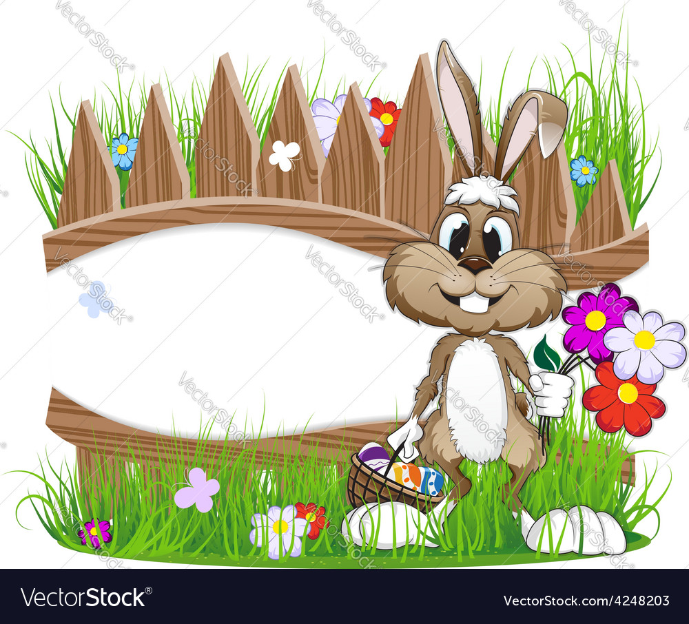 Easter bunny with egg basket vector | Price: 3 Credit (USD $3)