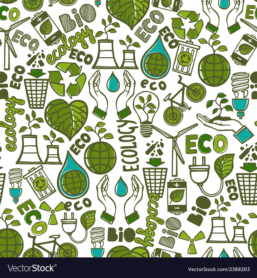 Ecology seamless pattern vector | Price: 1 Credit (USD $1)