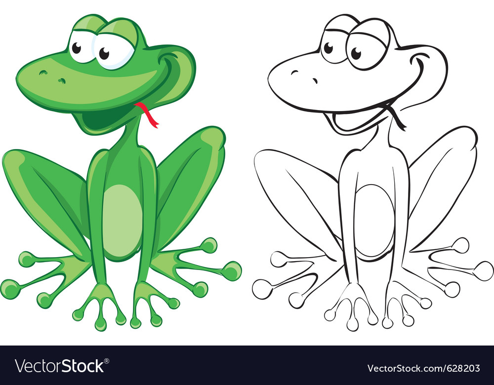 Funny frog color and bw outline vector | Price: 1 Credit (USD $1)