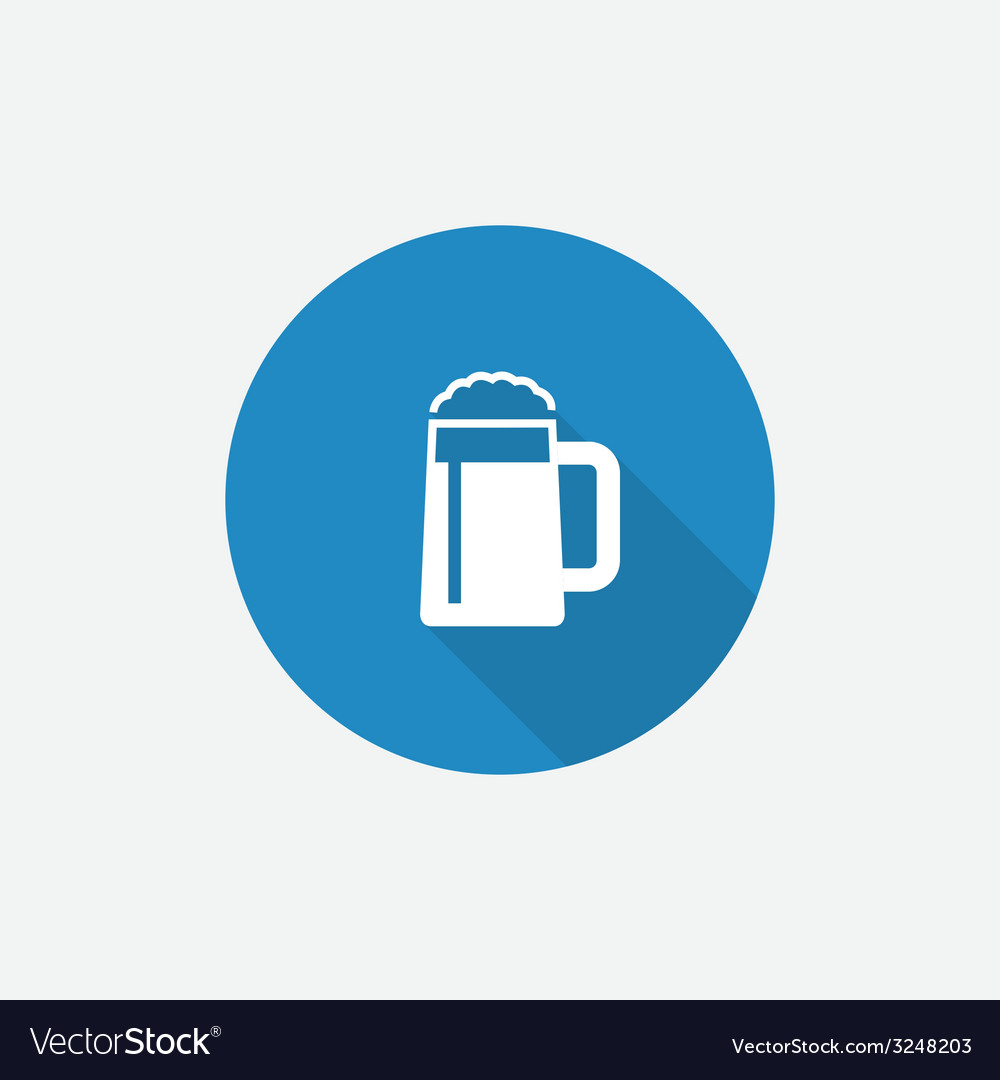 Glass of beer flat blue simple icon with long vector | Price: 1 Credit (USD $1)