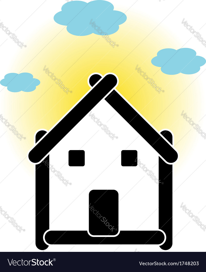 House with sticks and cloud vector | Price: 1 Credit (USD $1)