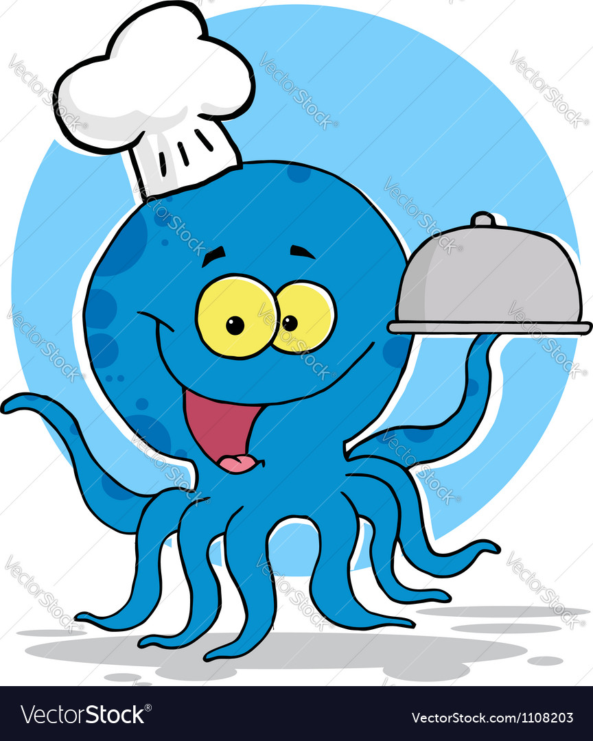 Octopus chef serving food vector | Price: 1 Credit (USD $1)