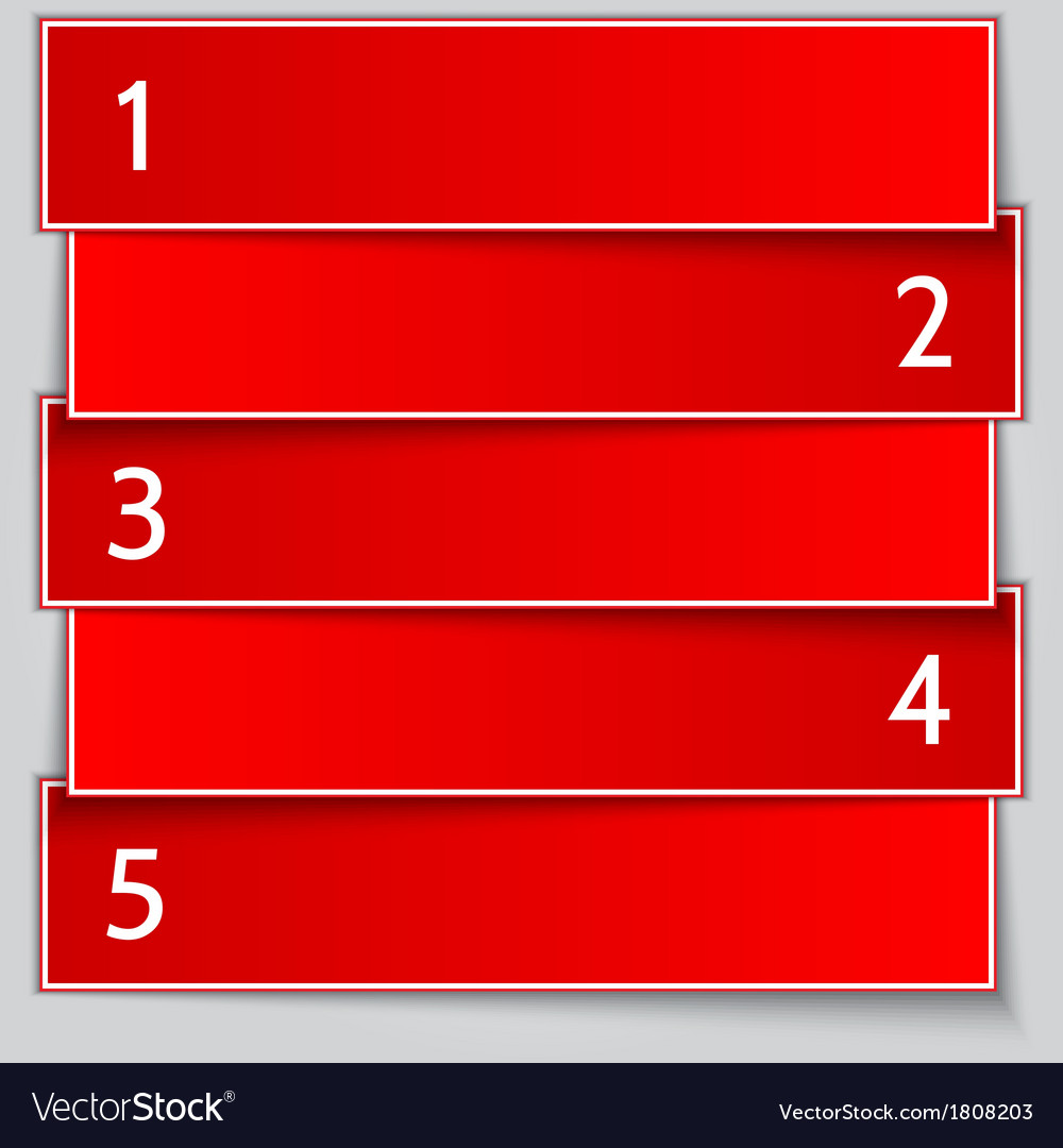 Red paper enumerated banner list vector | Price: 1 Credit (USD $1)