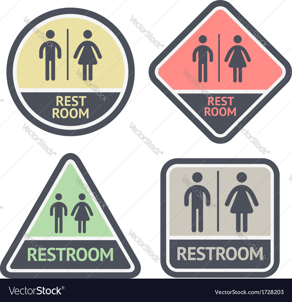 Restroom flat symbols set vector | Price: 1 Credit (USD $1)