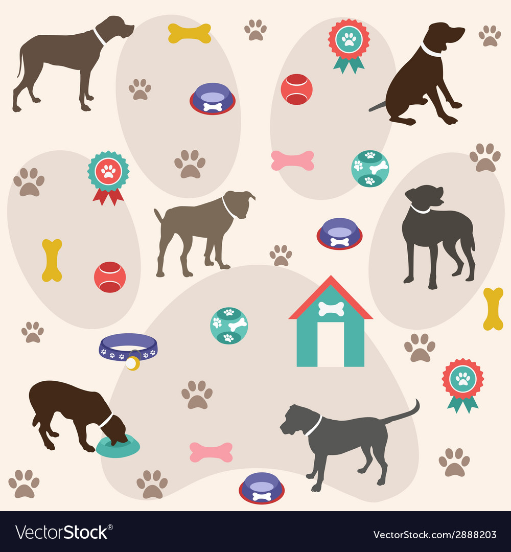 Seamless pattern dog icons vector | Price: 1 Credit (USD $1)