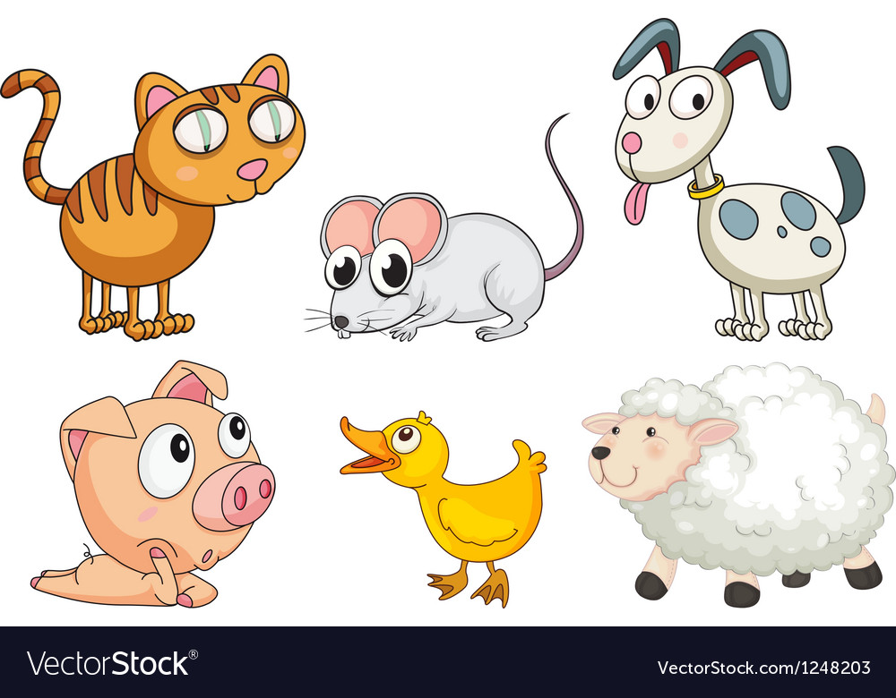 Six different kinds of animals vector | Price: 1 Credit (USD $1)
