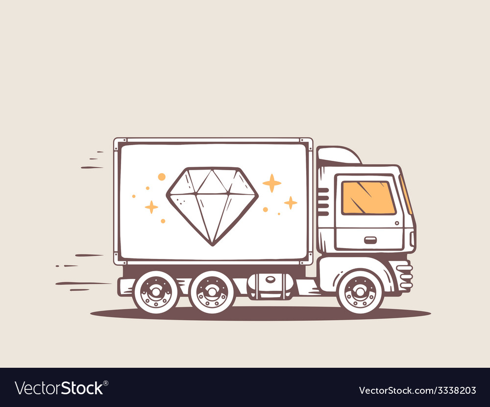 Truck free and fast delivering diamond to vector | Price: 1 Credit (USD $1)