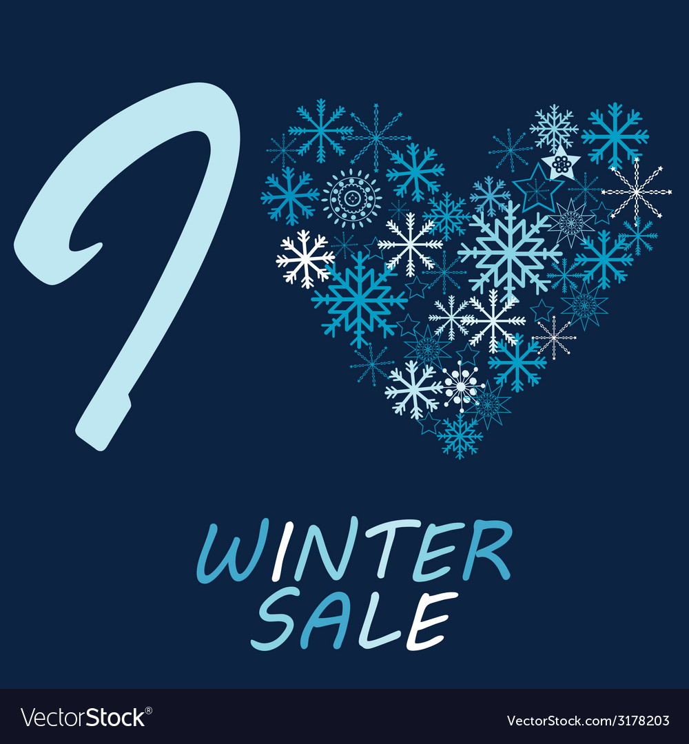 With snow flake and message i love winter sale vector | Price: 1 Credit (USD $1)