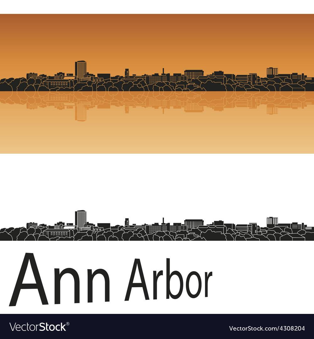 Ann arbor skyline in orange background vector | Price: 1 Credit (USD $1)