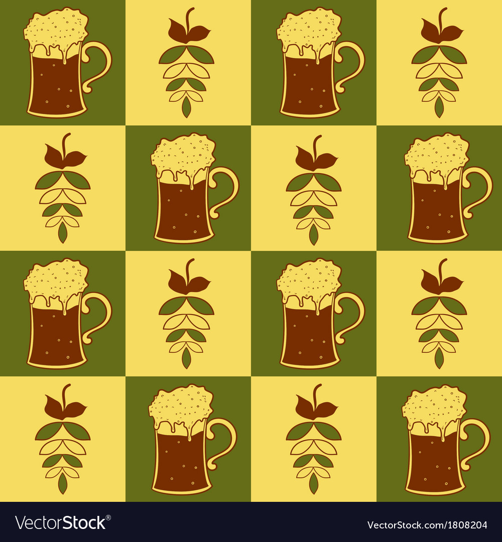 Beer mugs and hop seamless pattern vector | Price: 1 Credit (USD $1)