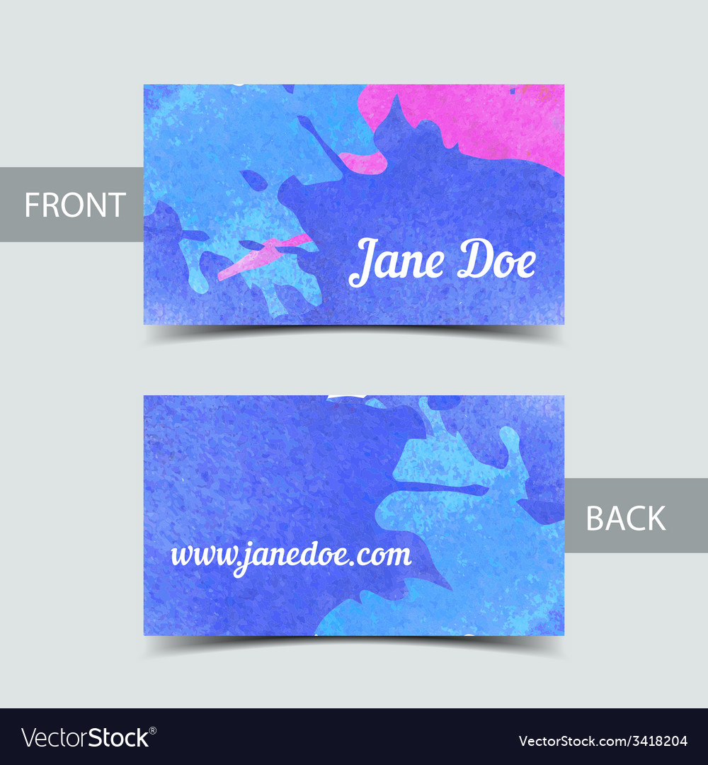 Business card template for watrcolor vector | Price: 1 Credit (USD $1)