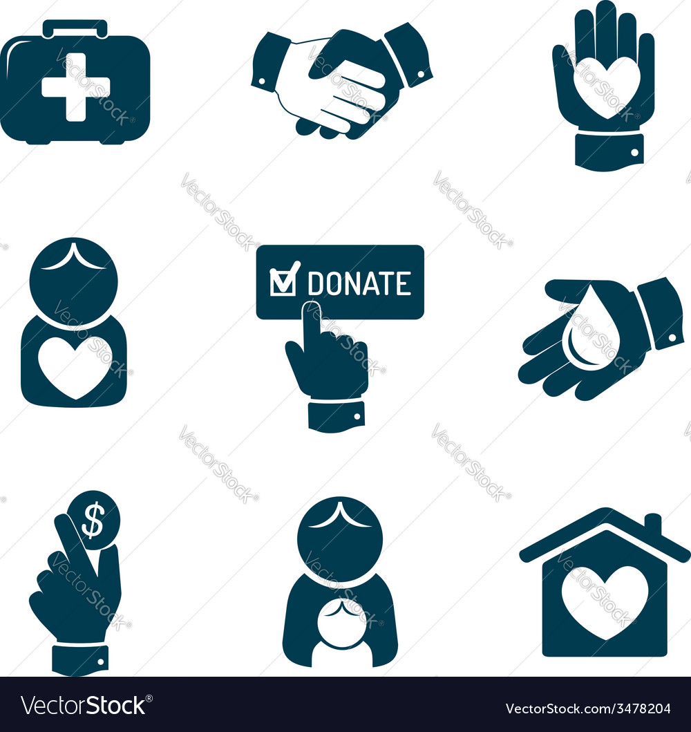 Charity and donation icons set vector | Price: 1 Credit (USD $1)