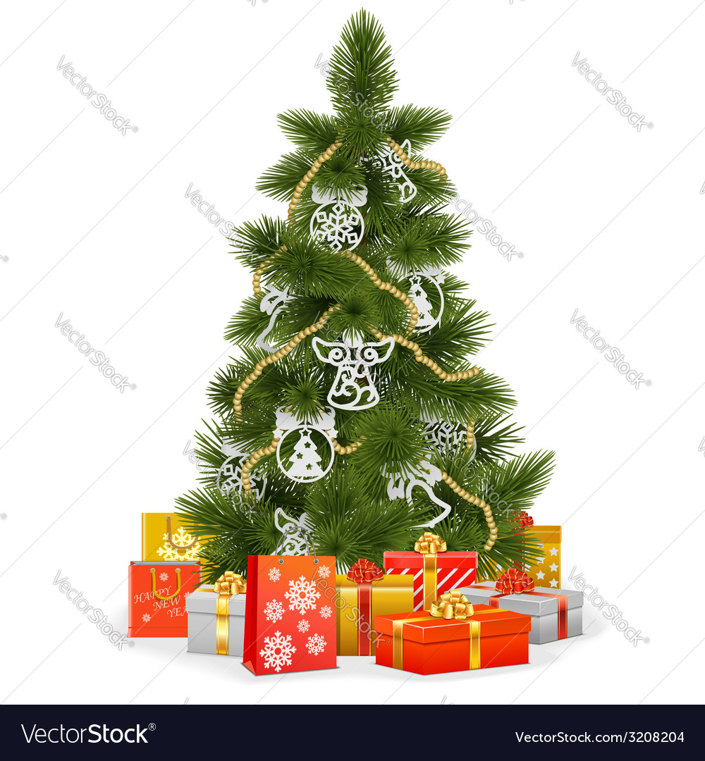 Christmas tree with paper decorations vector | Price: 3 Credit (USD $3)