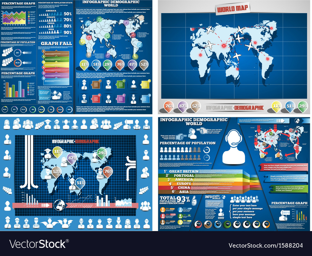 Collection of four infographics demograpic world vector | Price: 1 Credit (USD $1)