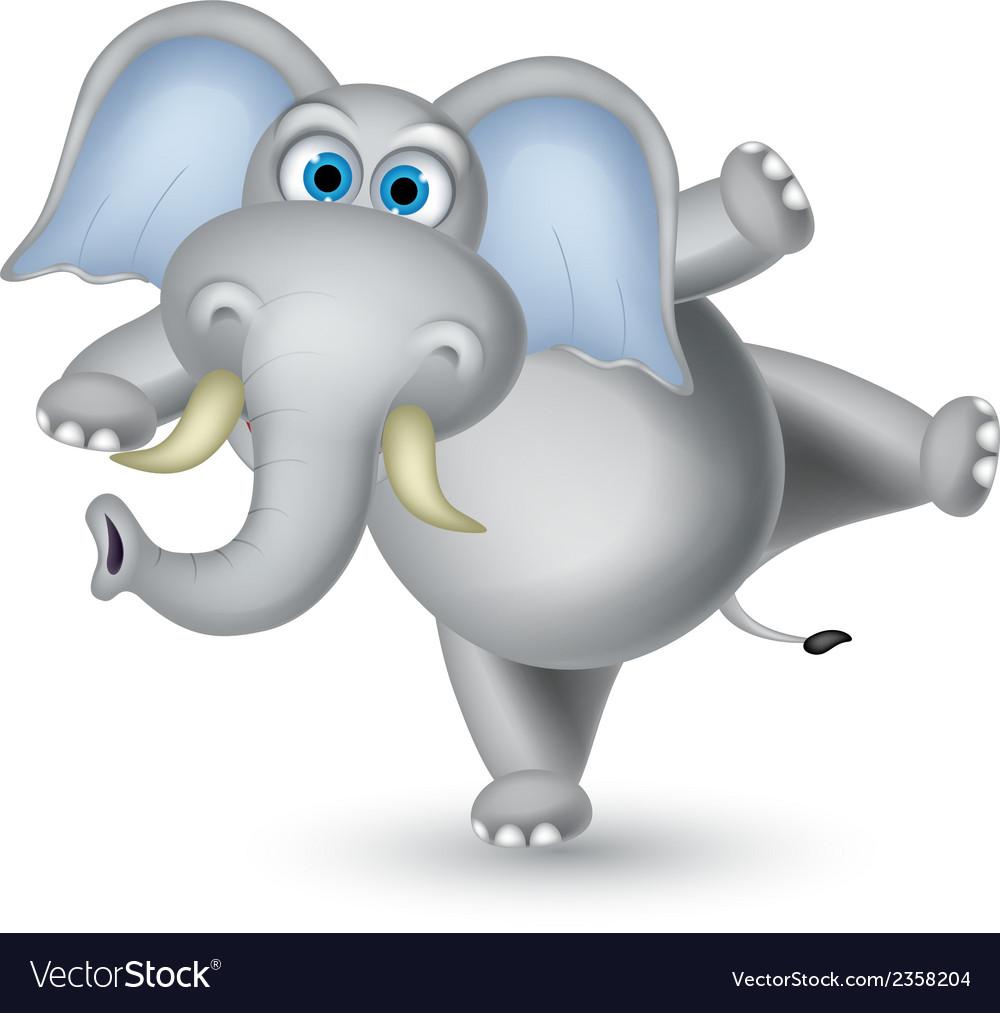 Elephant cartoon dancing vector | Price: 1 Credit (USD $1)
