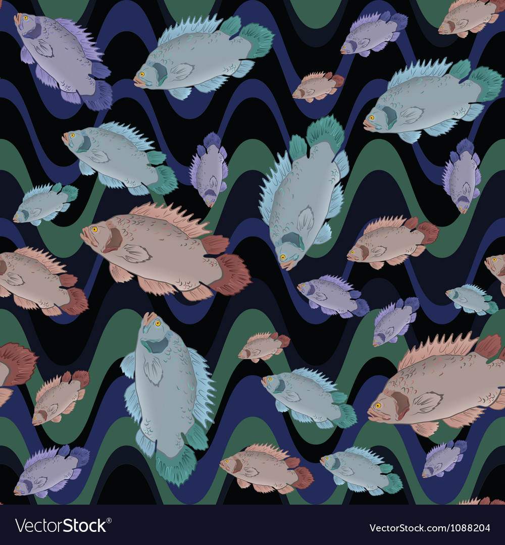 Fish and wave seamless pattern vector | Price: 1 Credit (USD $1)