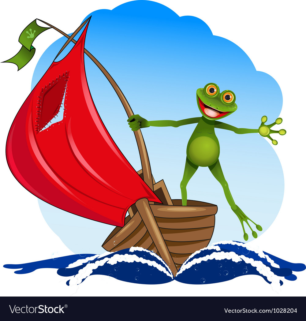 Frog on a boat vector | Price: 3 Credit (USD $3)