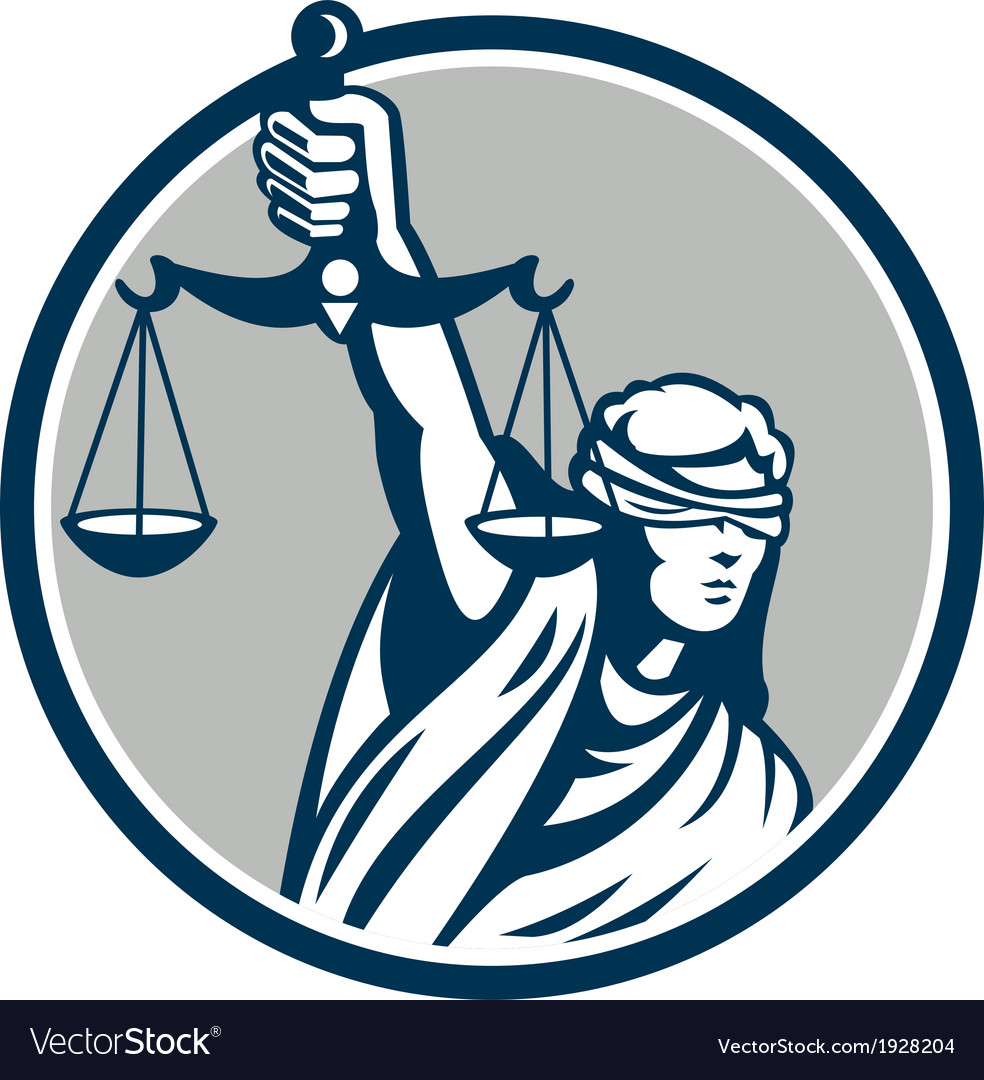 Lady blindfolded holding scales justice front vector | Price: 1 Credit (USD $1)