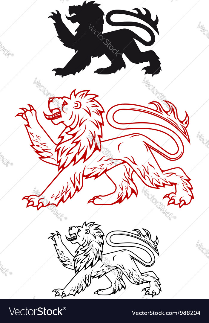 Medieval heraldic lion vector | Price: 1 Credit (USD $1)