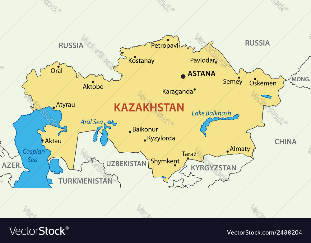 Republic of kazakhstan - map vector | Price: 1 Credit (USD $1)