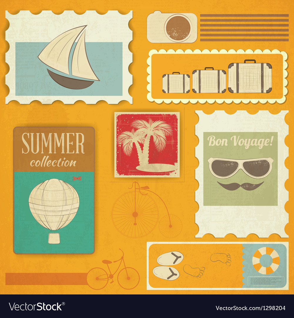 Summer travel card in vintage style vector | Price: 1 Credit (USD $1)