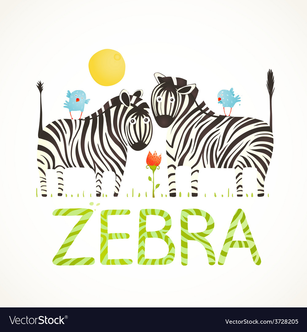 African zebra animals and fun lettering cartoon vector | Price: 1 Credit (USD $1)