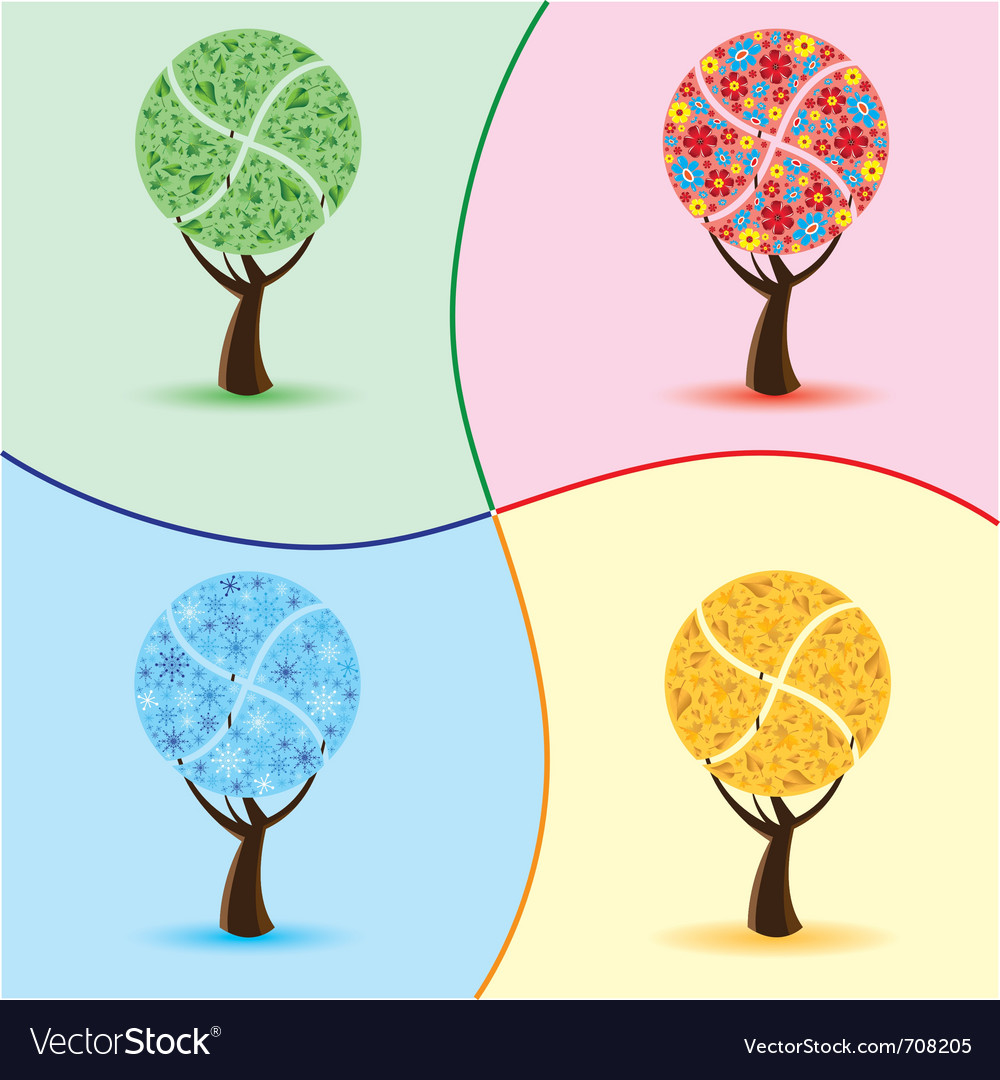 Art trees four seasons vector | Price: 1 Credit (USD $1)