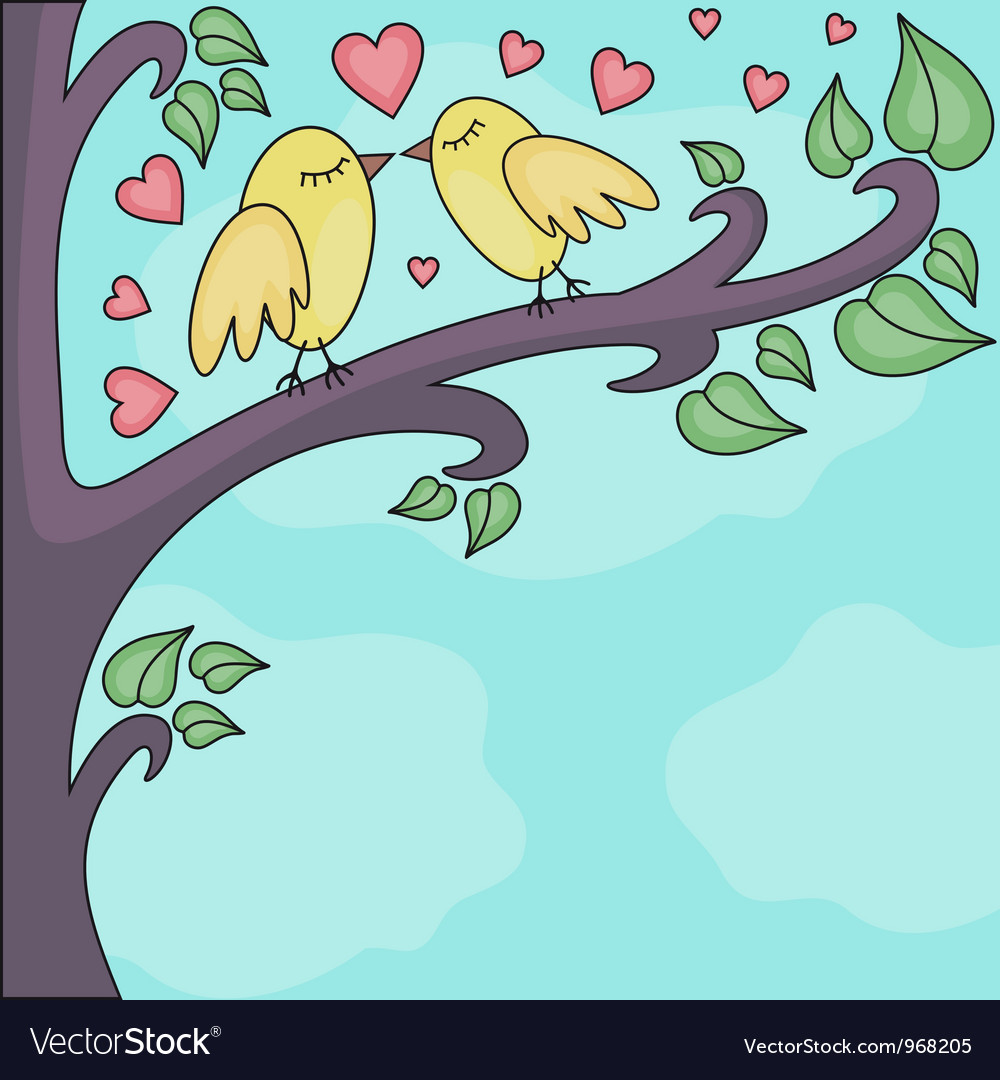 Birds kissing on a brunch vector | Price: 1 Credit (USD $1)