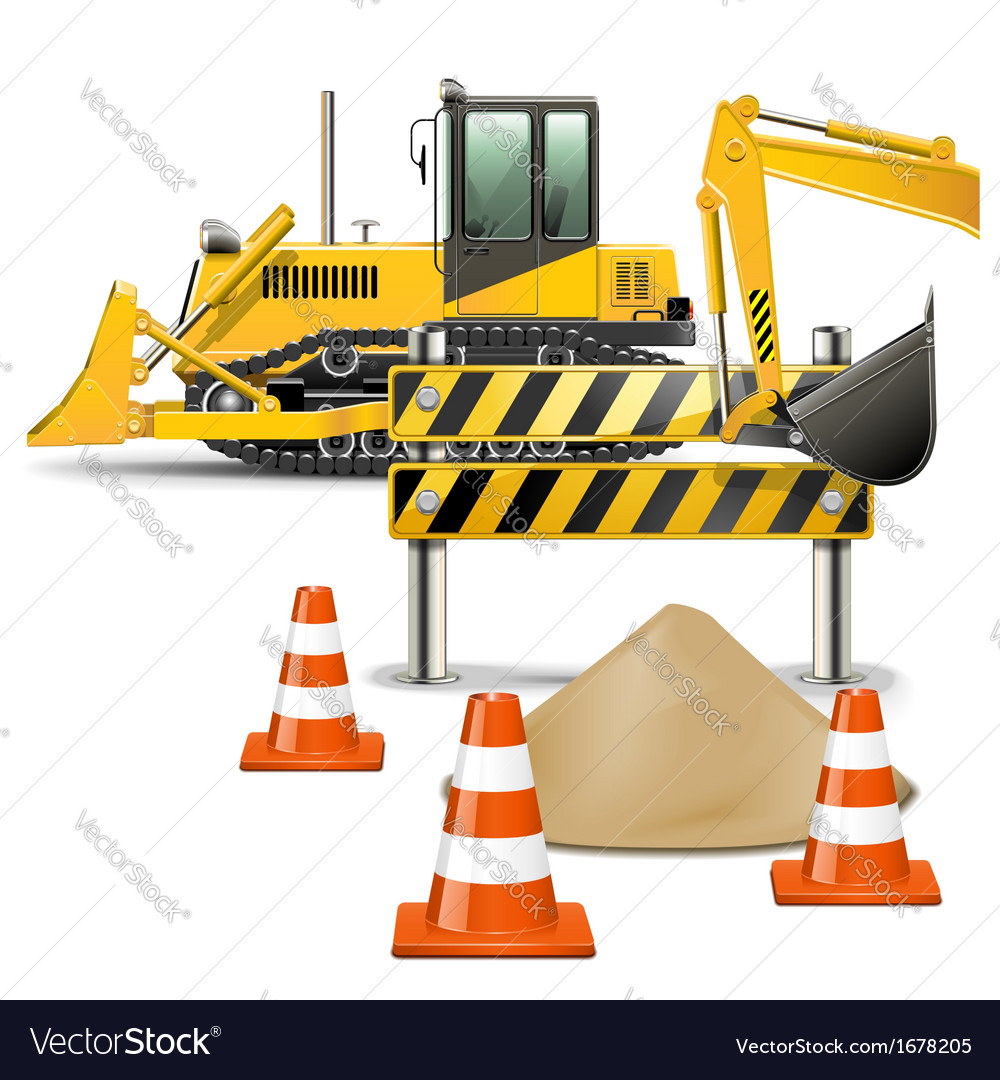 Construction machines with barrier vector | Price: 1 Credit (USD $1)